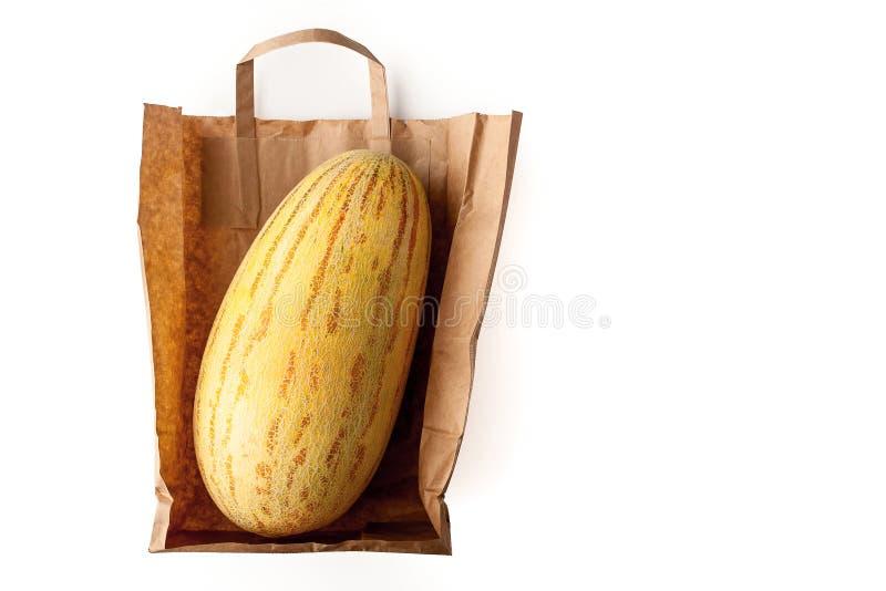 Meloen binnen een document zak stock fotografie