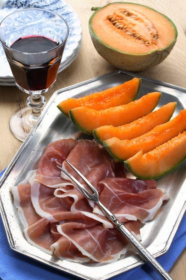 Meloen en prosciutto royalty-vrije stock afbeelding