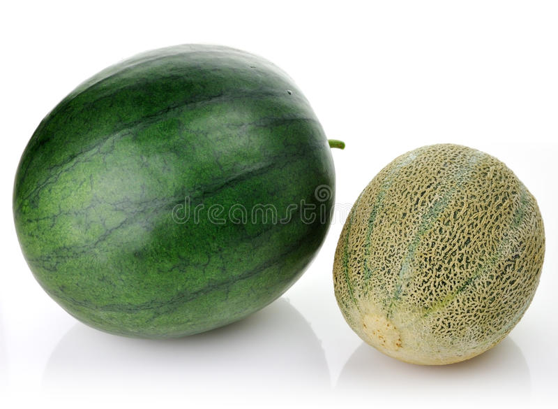 Meloen en watermeloen stock foto's