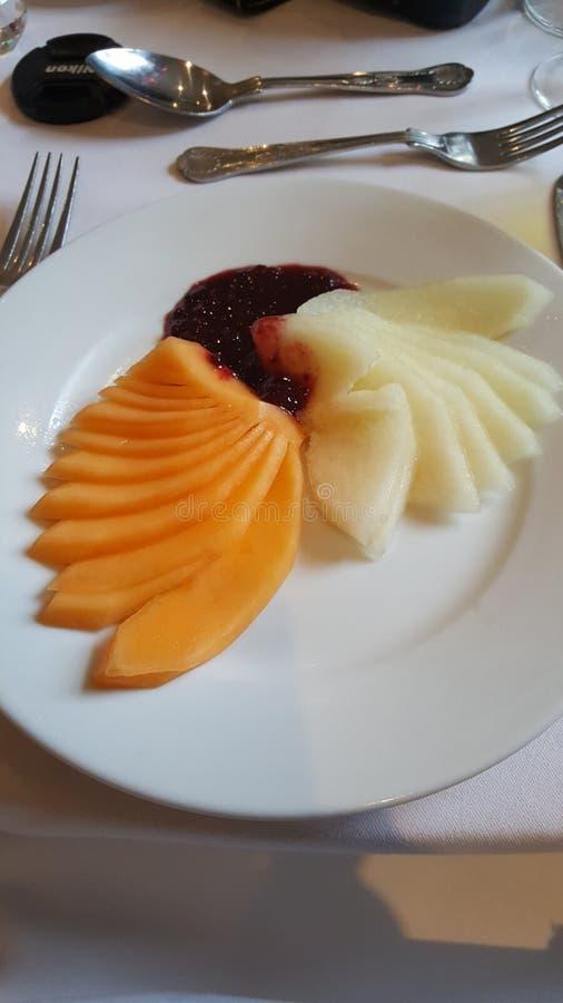 Meloen op een plaat royalty-vrije stock foto