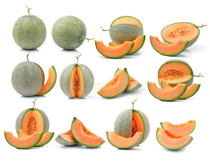 Meloen op witte achtergrond wordt geïsoleerd die royalty-vrije stock fotografie