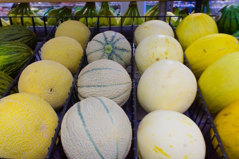 Meloen in verschillende grootte en kleuren stock foto