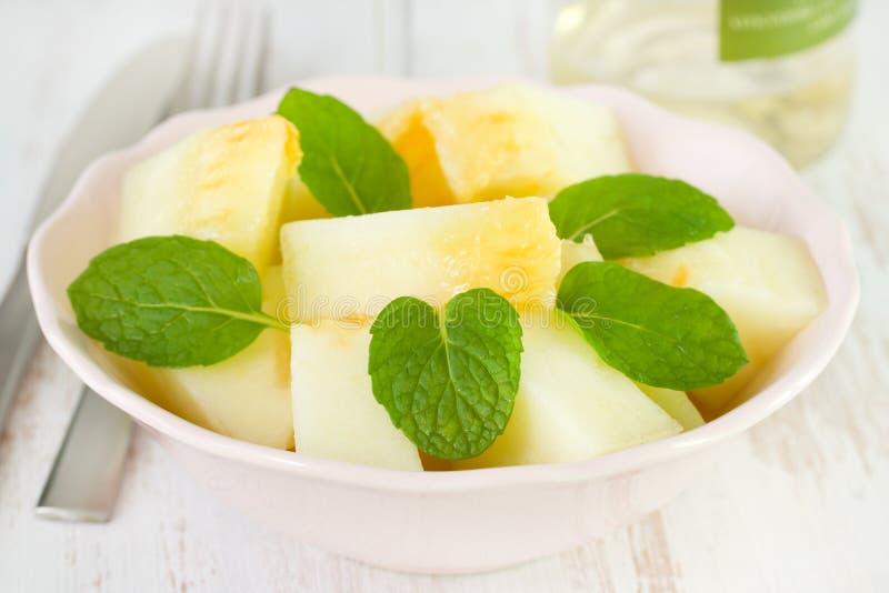 Meloensalade met munt royalty-vrije stock foto's