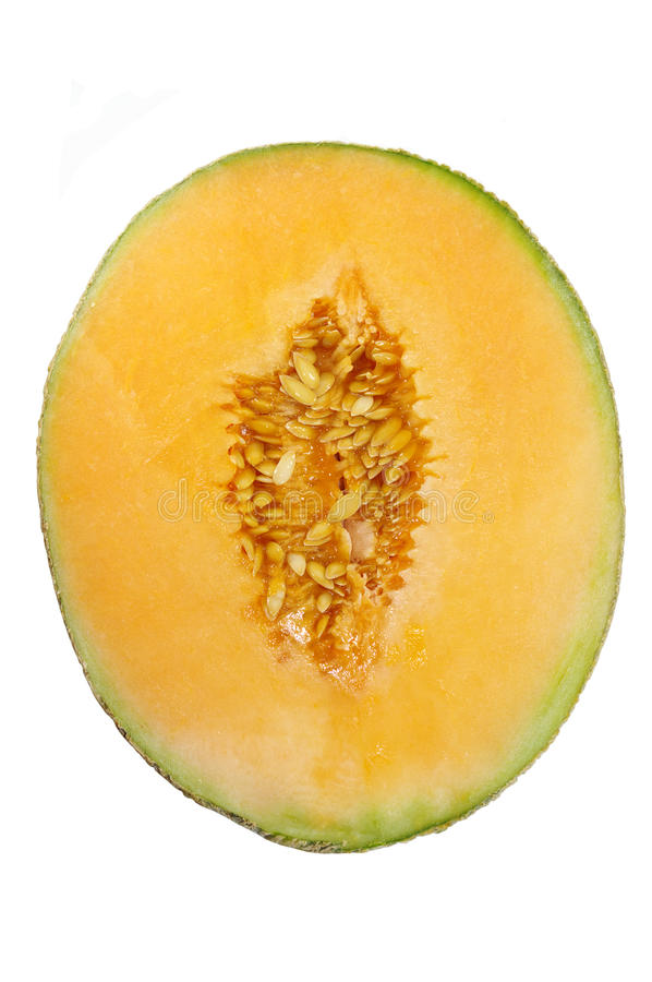 Melon. Half melon on white background stock photos