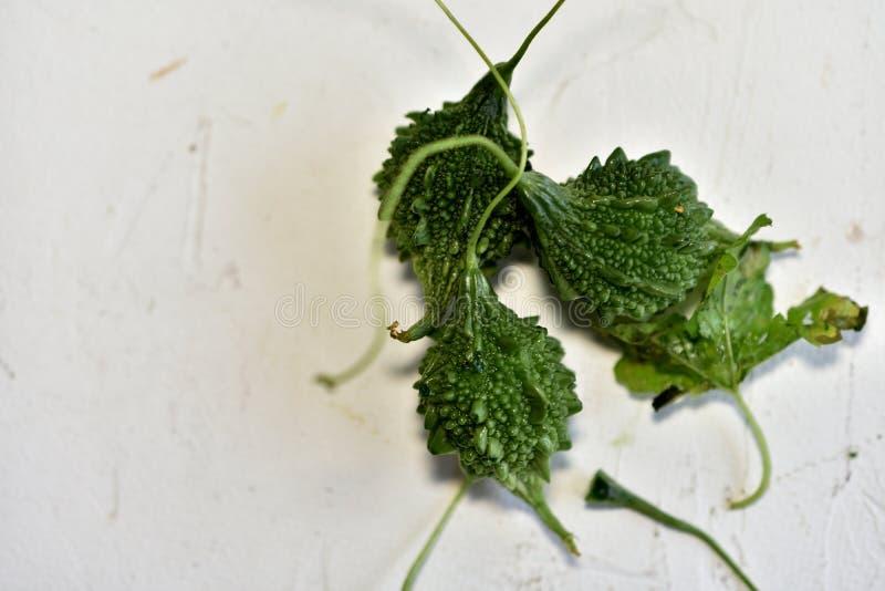 Melon amer, aussi connu sous le nom de gourde amère ou karela, Inde photographie stock
