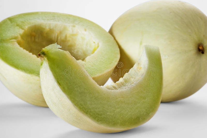 Melon. Close-up image of melon studio isolated on white background royalty free stock photography