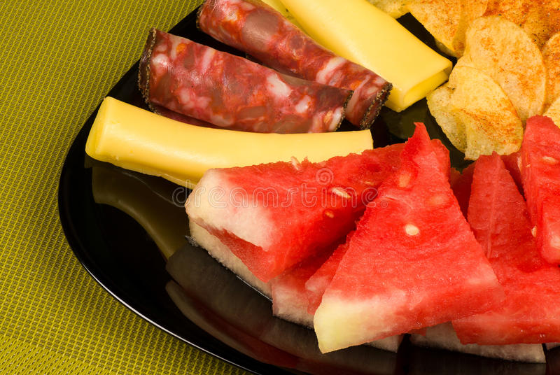 Download Melon with cold meat stock image. Image of chorizo, sliced - 25807501
