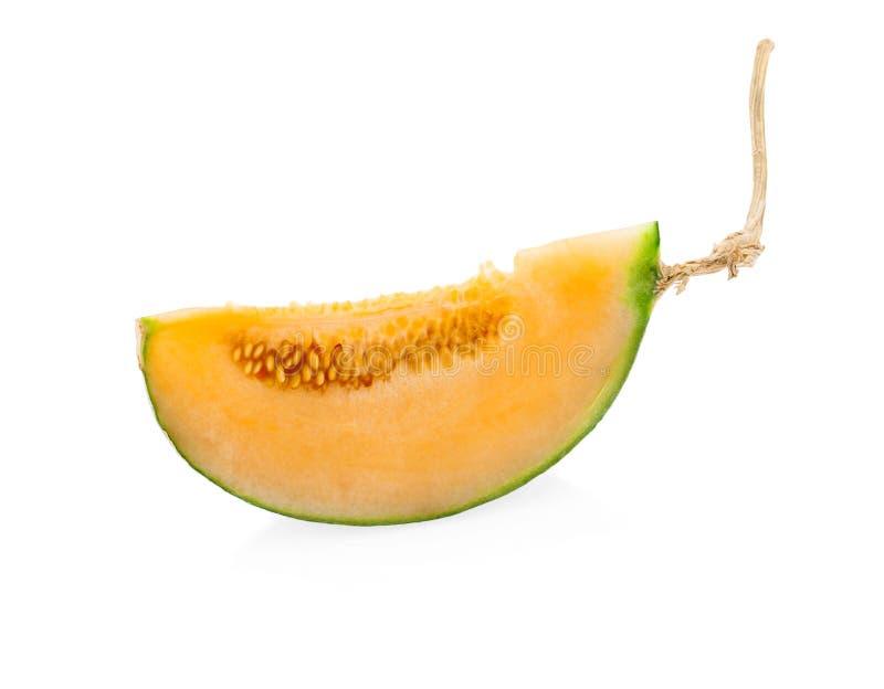 Melon de cantaloup d'isolement sur le fond blanc photo libre de droits