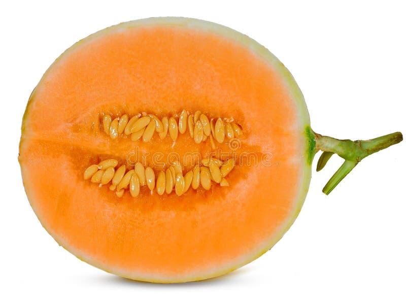 Melon de cantaloup d'isolement sur le fond blanc photographie stock
