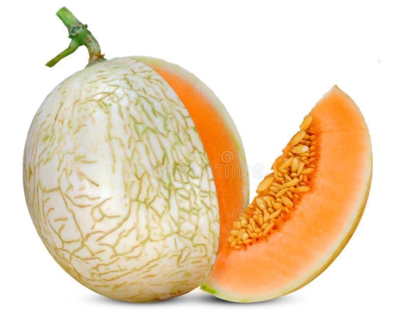 Melon de cantaloup d'isolement sur le fond blanc photos stock