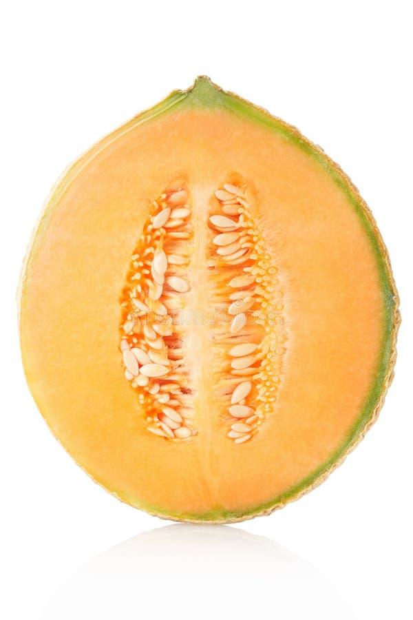 Melon de cantaloup demi sur le blanc photographie stock libre de droits