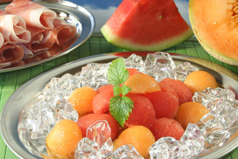 Download Melon with ham stock photo. Image of dessert, bacon, appetizers - 15194422