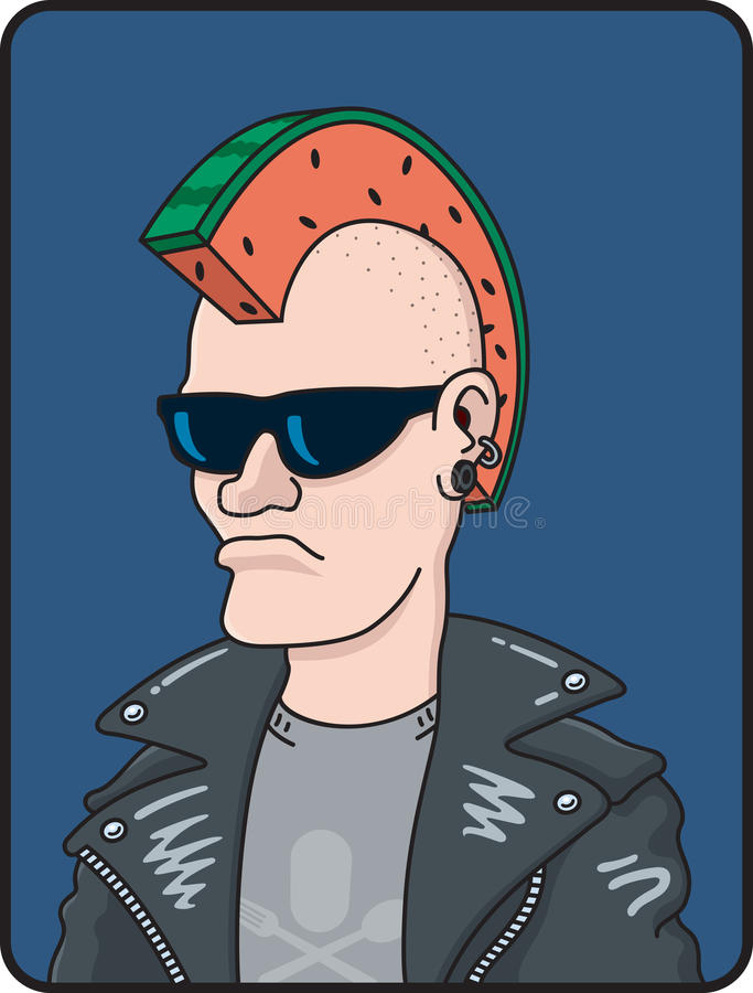 Melon Head. Cartoon illustration of a punk rocker with a slice of watermelon forming a Mohawk haircut royalty free illustration