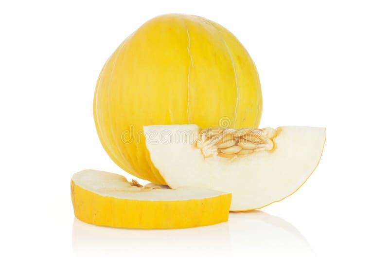 Melon jaune canari jaune d'isolement sur le blanc photos libres de droits