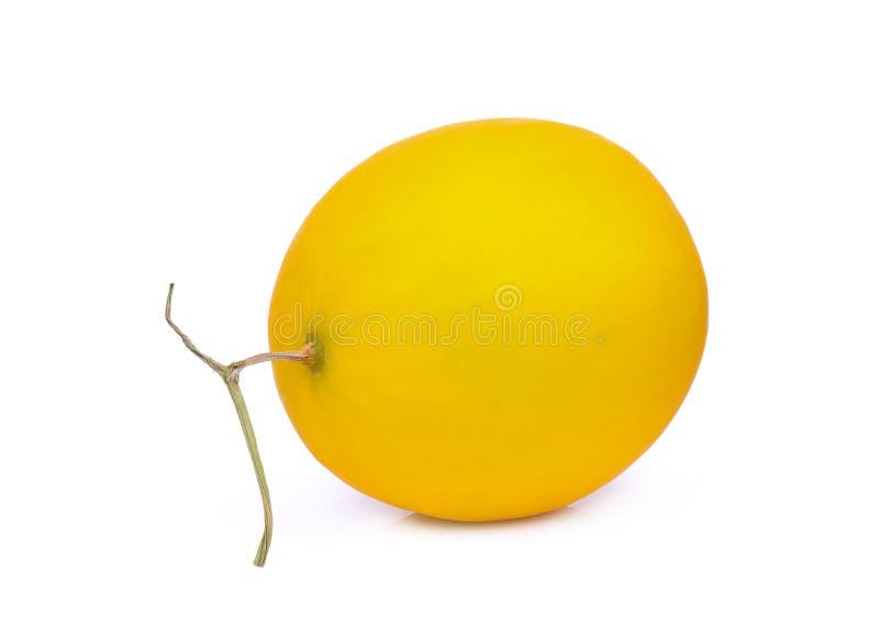 Melon jaune entier de cantaloup d'isolement sur le blanc photos stock