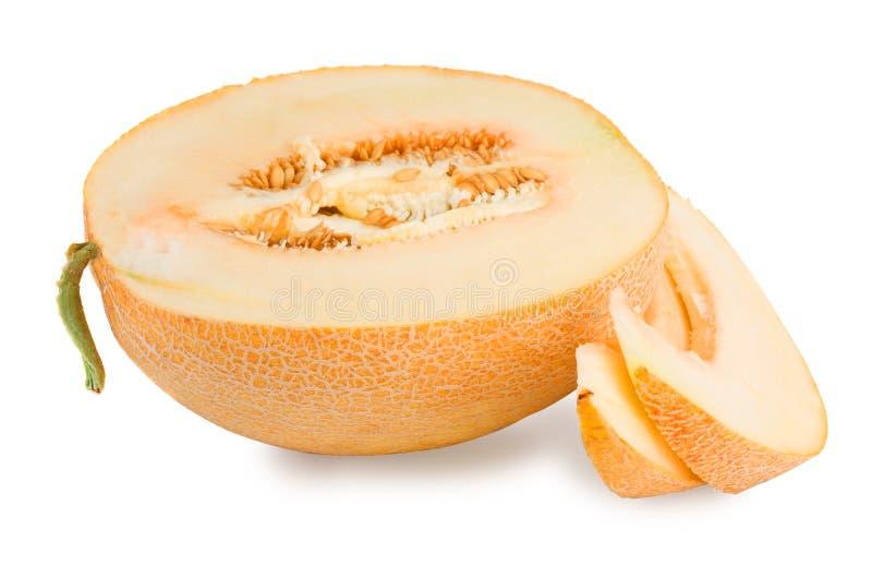 Melon jaune tranché images stock