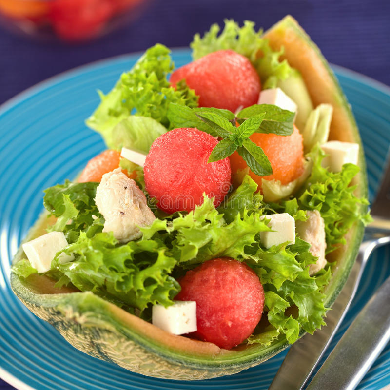Melon, Lettuce, Chicken, Cucumber, Cheese Salad royalty free stock photos