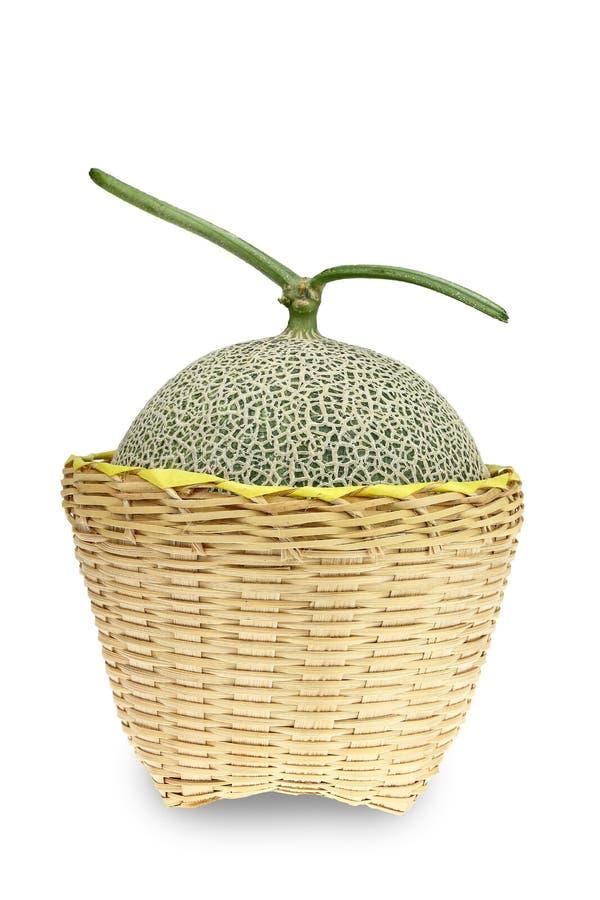 Melon lub kantalupa melon z ziarnami odizolowywającymi na białym backgroun obraz stock