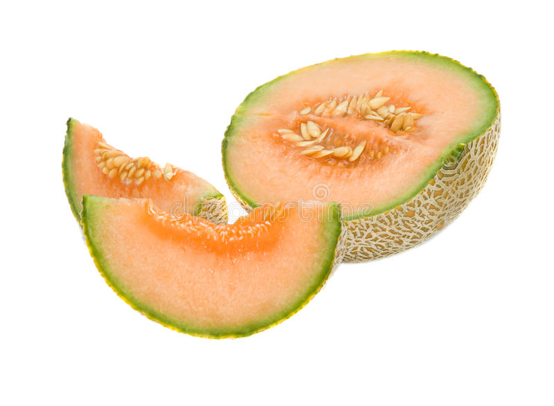 Melon section and segments. Isolated on white background stock photo