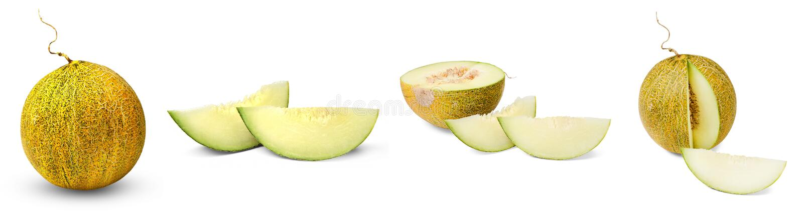 Melon set. Whole, half, lobule. Isolation on a white background. Side view. Bright saturated colors and good texture royalty free stock photo