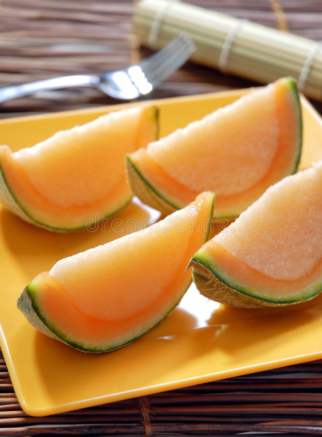 Melon slice shape jelly dessert royalty free stock photo