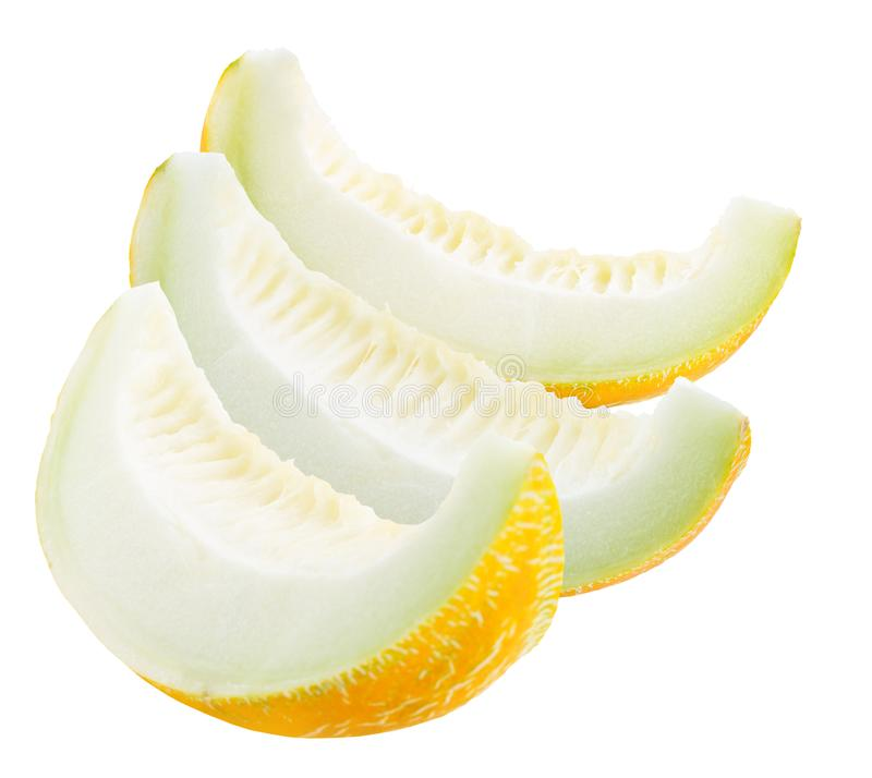 Melon slices isolated on a white background stock photography