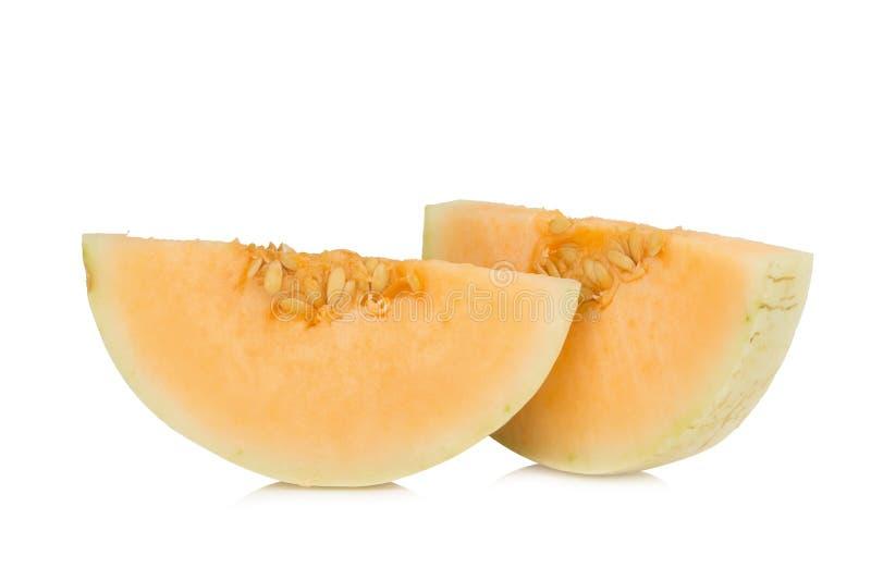 melon& x28 sunlady& x29  φέτα μισός η ανασκόπηση απομόνωσε το λευκό στοκ φωτογραφία