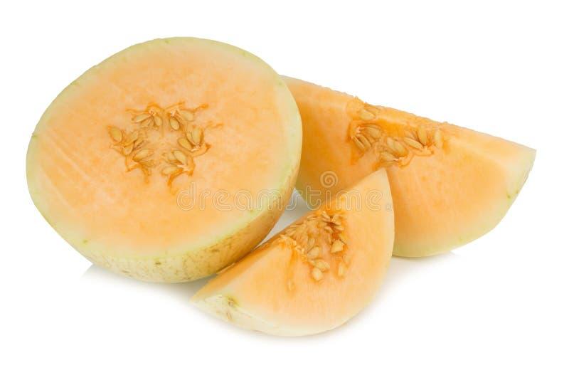 melon& x28 sunlady& x29  φέτα μισός η ανασκόπηση απομόνωσε το λευκό στοκ εικόνες