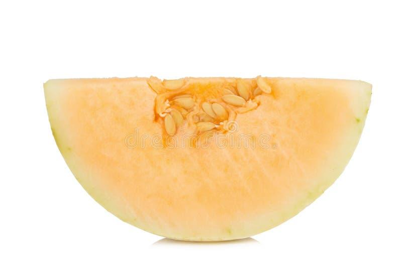 melon& x28 sunlady& x29  φέτα μισός η ανασκόπηση απομόνωσε το λευκό στοκ εικόνα με δικαίωμα ελεύθερης χρήσης