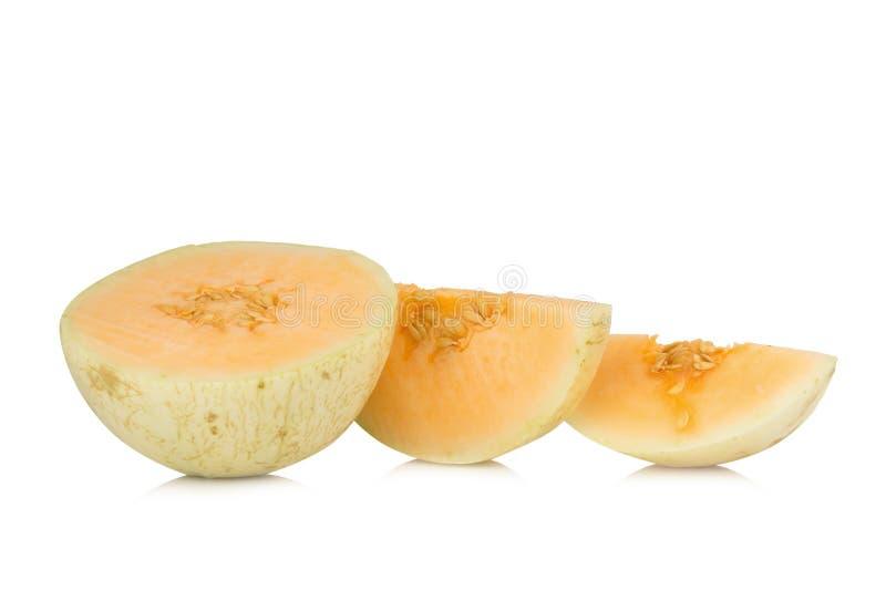 melon( sunlady)切片 半 背景查出的白色 免版税库存照片