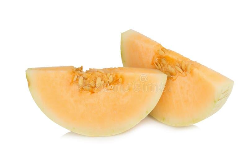 melon& x28; sunlady& x29;切片 半 背景查出的白色 免版税库存图片