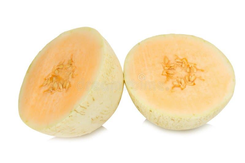 melon& x28; sunlady& x29; skiva half bakgrund isolerad white fotografering för bildbyråer