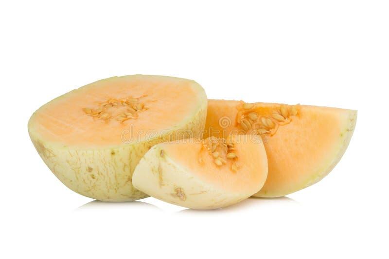 melon( sunlady) skiva half bakgrund isolerad white royaltyfri fotografi