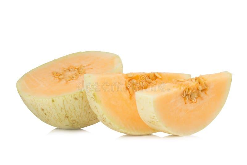 melon& x28; sunlady& x29; skiva half bakgrund isolerad white arkivfoto