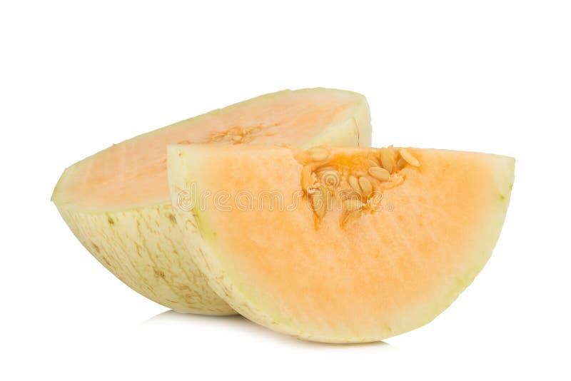 melon& x28; sunlady& x29; skiva half bakgrund isolerad white royaltyfri fotografi
