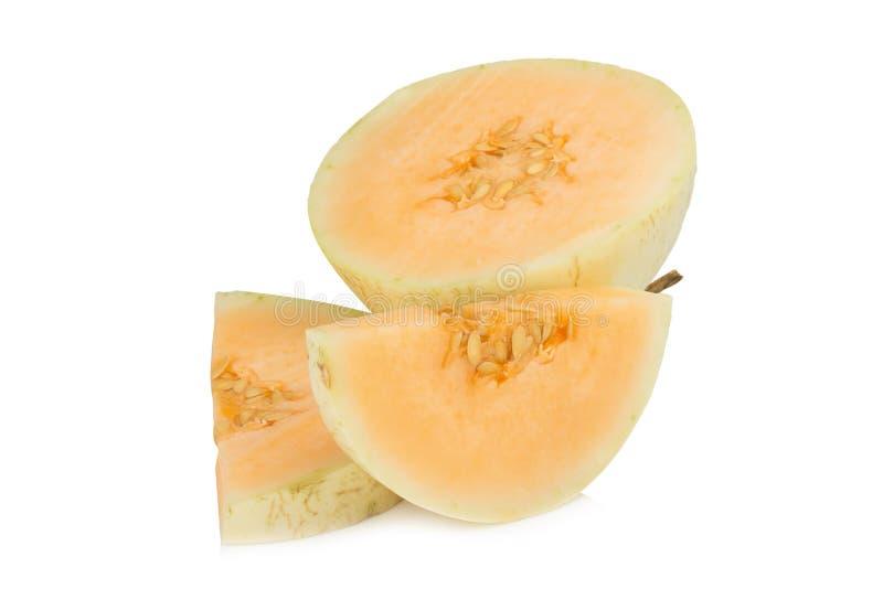 melon& x28; sunlady& x29; skiva half bakgrund isolerad white arkivfoton