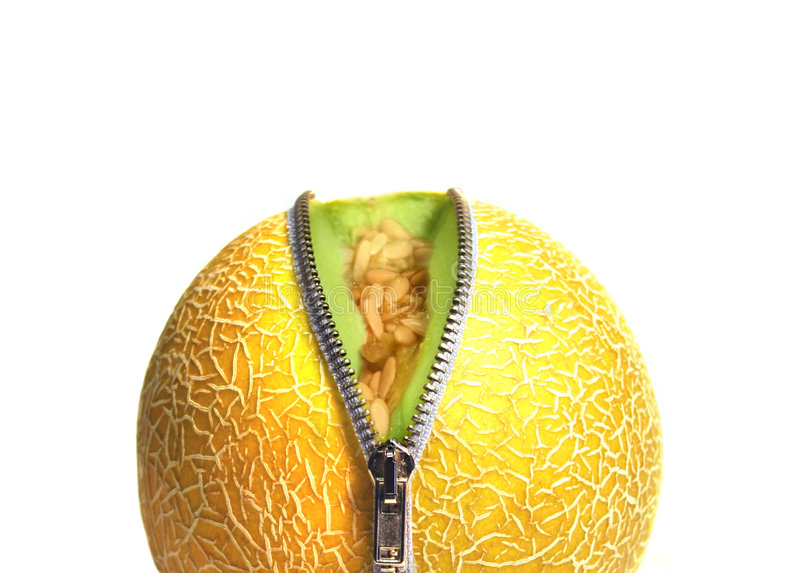 melon unzipped się blisko obrazy stock