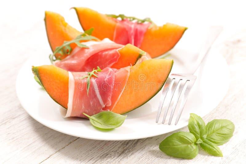 Melon?w plasterki i prosciutto baleron obraz royalty free