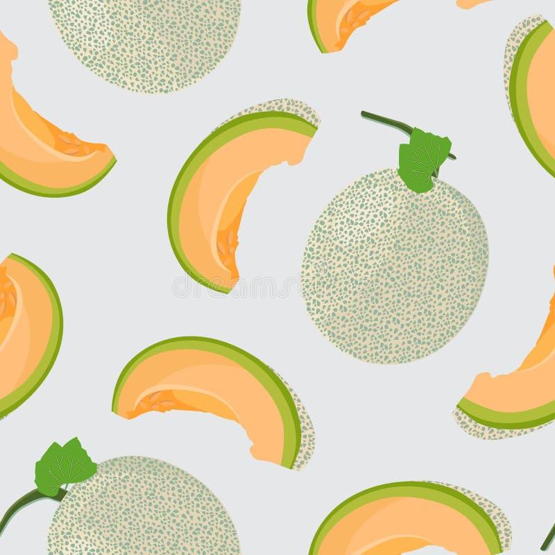 Free Melon Whole And Slice Seamless Pattern On Gray Background, Fresh Cantaloupe Melon Pattern Background Stock Photo - 155876390