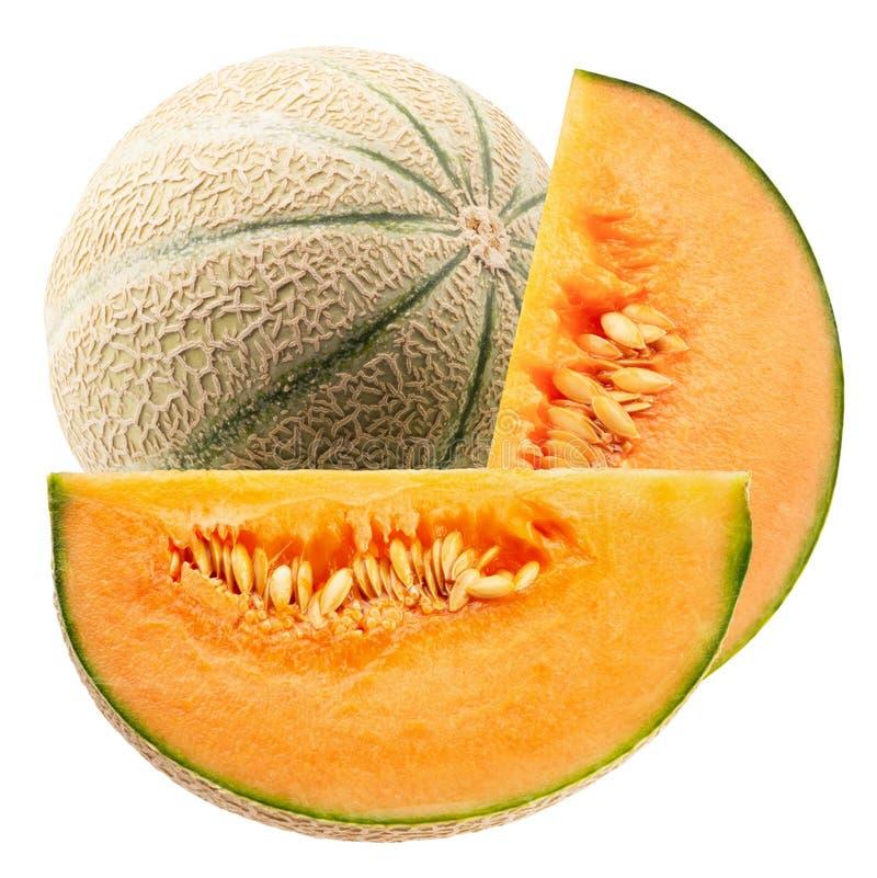 Melon z plasterkami odizolowywaj?cymi na bia?ym tle obrazy stock