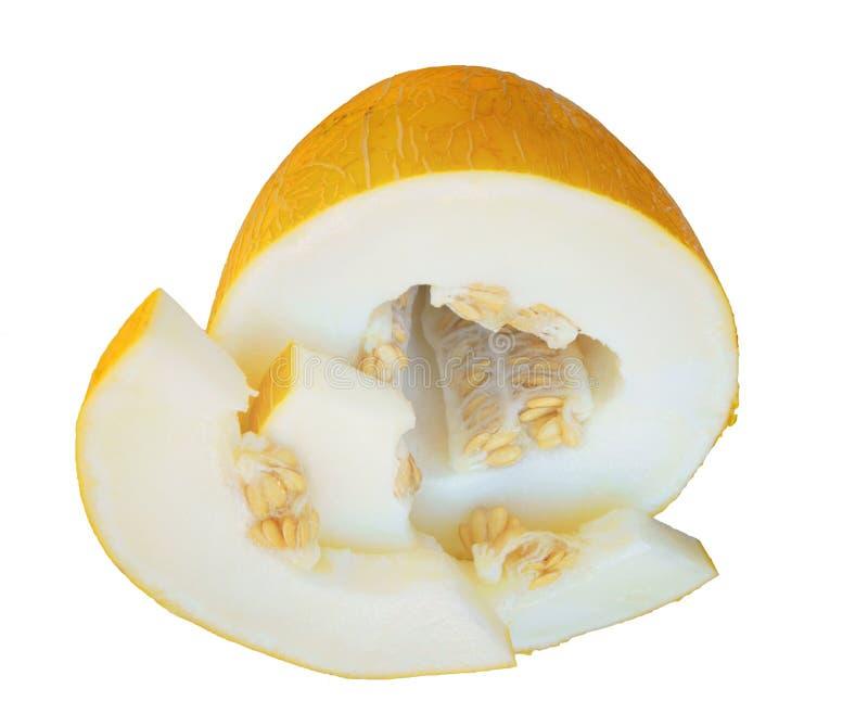 Melone affettato isolato su fondo bianco fotografie stock