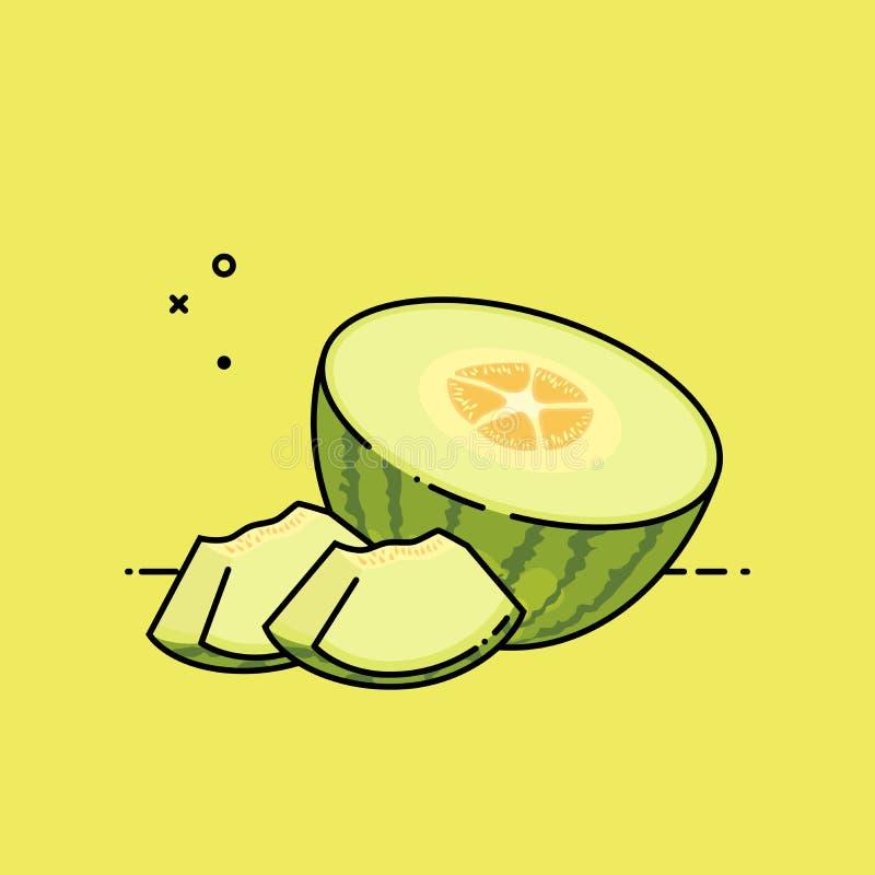 Melone aperto dalla metà illustrazione di stock