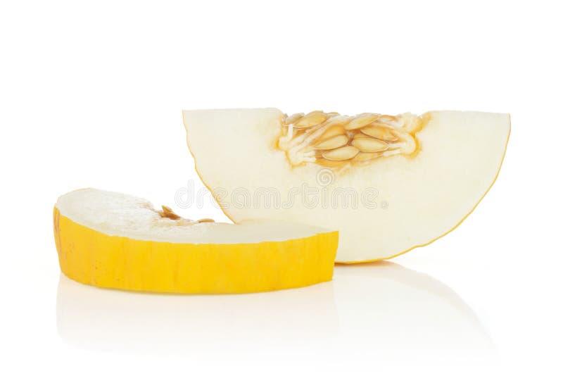 Melone color giallo canarino giallo isolato su bianco fotografia stock