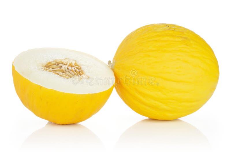 Melone color giallo canarino giallo isolato su bianco fotografia stock libera da diritti