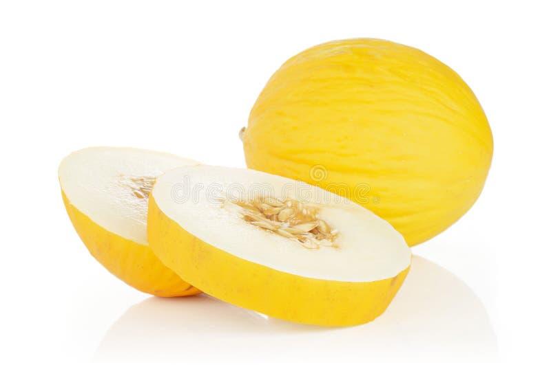 Melone color giallo canarino giallo isolato su bianco immagini stock libere da diritti