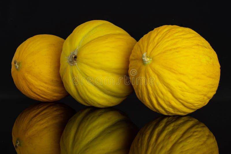 Melone color giallo canarino giallo isolato su vetro nero fotografie stock libere da diritti