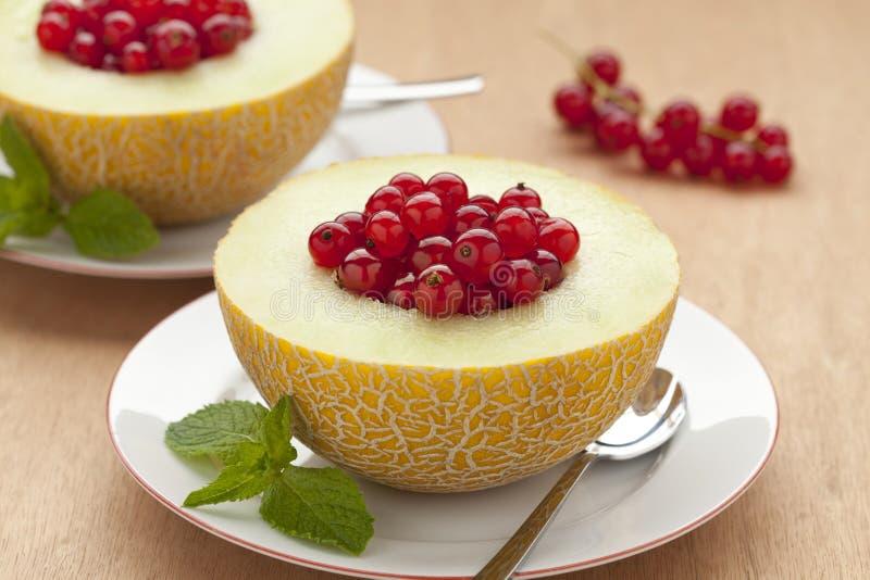 Melone füllte mit roten Johannisbeeren lizenzfreie stockfotografie