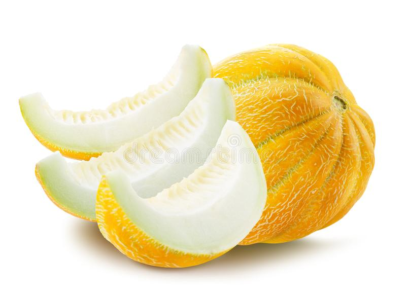 Melone mit den Scheiben lokalisiert auf einem weißen Hintergrund stockfotos
