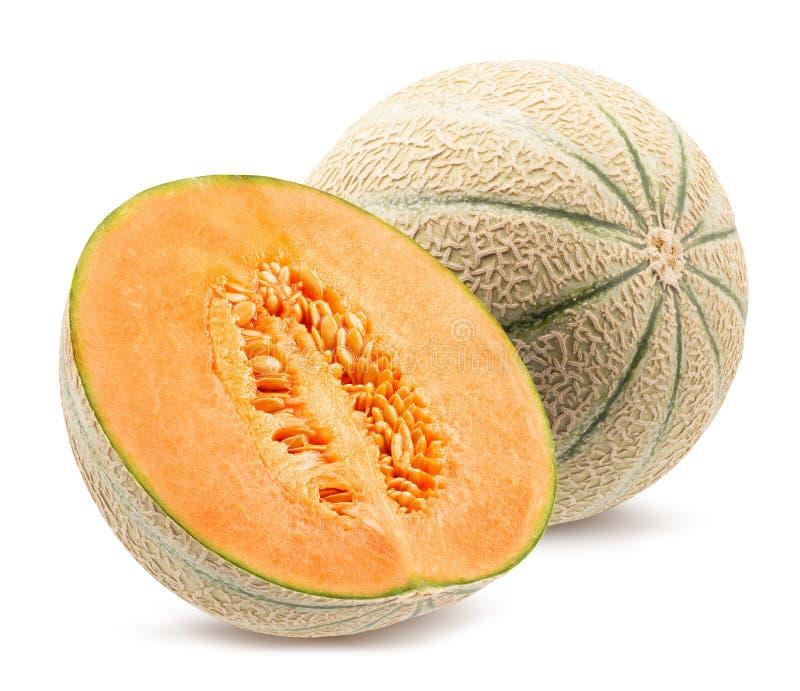 Melone mit der H?lfte der Melone lokalisiert auf einem wei?en Hintergrund stockfotos
