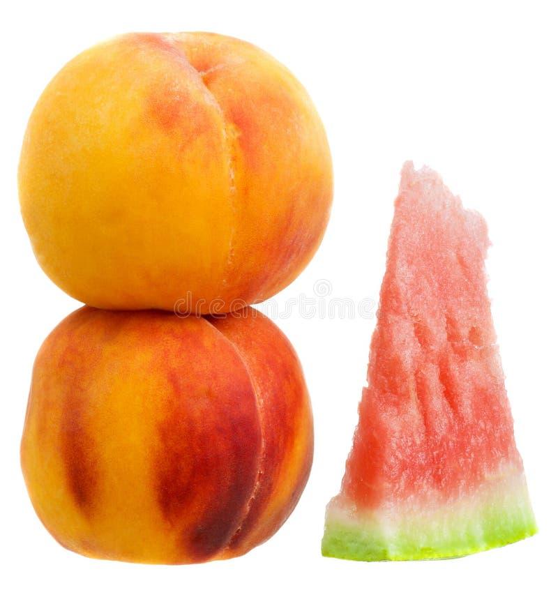 Melone und Pfirsiche lizenzfreie stockfotos